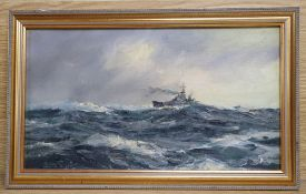 Henry Scott, oil on canvas board, Battleship at sea, signed, 19.5 x 35cm
