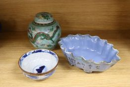 A Chinese ginger jar, height 15cm, an oval dish and a circular dish