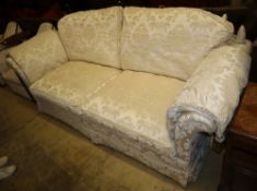 A large modern Knoll style cream silk foliate brocade upholstered two seater settee, W.238cm