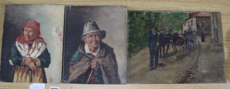 Italian School c.1900, pair of oils on canvas, Portraits of an elderly couple, 25 x 20cm and an