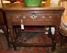 An early 18th century oak side table, Width 74cm