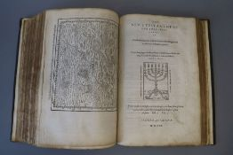 Bible in English - Geneva Bible, folio, 17th century calf binding, lacking title page to old