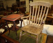 A beech and elm lathe-back elbow chair and an Asian lacquered two-tier occasional table, 50cm