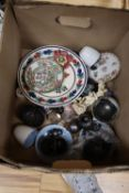 A collection of assorted ceramics and glass to include Dicker pottery