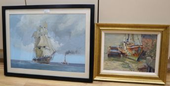 Robert Bryan ( 20th century), Clipper and Steam Tug, signed, gouache, 38 x 54cm and Geoff Hunt (20th