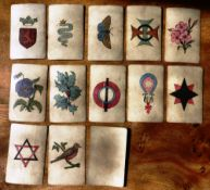 A mid 19th Century card 12 sets of 4 hand coloured illustrations probably for the game of SNAP. 48