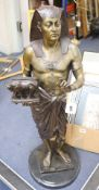 After Picault. A large bronze Egyptian revival figure, height 72cm