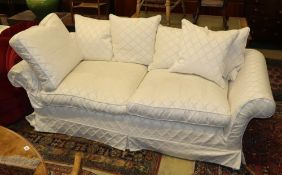 A contemporary upholstered two seater settee by Highly Sprung, length 220cm (See also Lot 56)