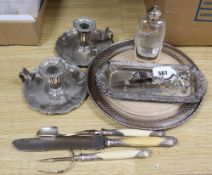 A plated snuffer tray, a spirit flask, a pair of chamber sticks and sundries