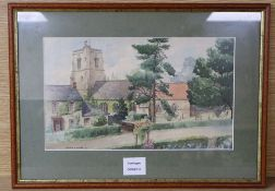 Clinton E A Lewis, watercolour, View of a country church, signed and dated '31, 20 x 33cm