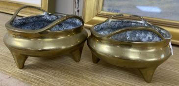 Two 20th century Chinese bronze censers, diameter 12cm (one a.f.)