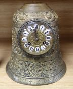 A bronze bell shaped mantel clock, height 23cm