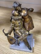 Namgreb (Bergman). A cold painted bronze of Pierrot and Show girl, height 14cm