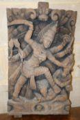 An eastern carved panel, width 36cm, depth 6cm, height 63cm