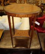 An Edwardian painted and decorated satinwood oval occasional table, 57cm