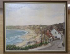 M M Tomlinson, oil on canvas, West Country beach scene, signed, 40 x 50cm
