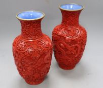 A pair of Chinese cinnabar lacquer vases, height 23cm