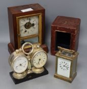 A French lacquered brass carriage timepiece combined barometer and one other, desk timepiece width