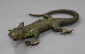 A cold painted bronze lizard, length 13cm