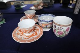 Assorted Chinese cups and teabowls, a pair with reign marks