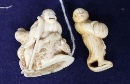 A 19th century Japanese ivory netsuke of Gama Sennin, unsigned, and a similar netsuke of a rakan,