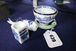 Four Chinese ceramics, a jadeite bangle and an animal water dropper, Wanli Ming period