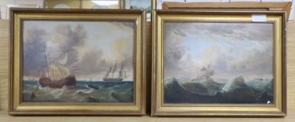 19th century English School, pair of oils on panels, Shipping off the coast, 29 x 39cm