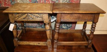 Two 17th century style oak joint stools