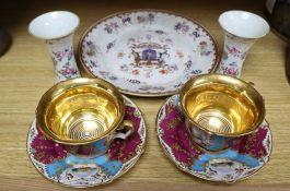 A Samson of Paris porcelain dish, a pair of vases and a pair of Paris porcelain cup and saucers