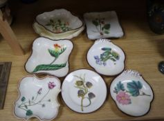 Seven various pearlware botanical dessert dishes and a similar plate, early 19th century, widest
