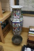 A Chinese famille rose hexagonal vase, height 60cm and a bronze bowl