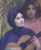 L. Riselz, oil on canvas, Spanish guitar player, signed, 55 x 47cm, unframed