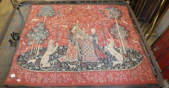 Hines of Oxford. A machine made tapestry - Lion and unicorn, with figures weaving, together with a