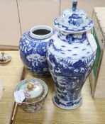 A Chinese blue and white vase, height 39cm, a ginger jar, etc.