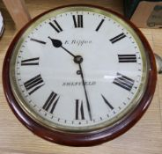 A Victorian mahogany fusee wall timepiece by E. Rippon, Sheffield, diameter 36cm