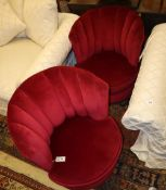 A pair red dralon upholstered scallop back chairs, Width 68cm