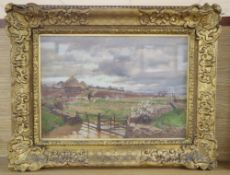 Alfred William Parsons (1847-1920), 'On the Cotswolds', signed, oil on board, 23 x 33cm