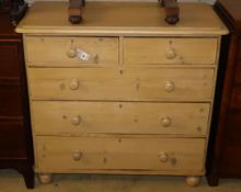 A Victorian stained pine chest of five drawers, width 98cm