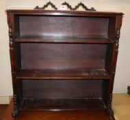 A Victorian mahogany and pine open bookcase, reconstructed width 79cm