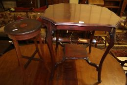 An Edwardian mahogany occasional table, Width 70cm and a jardiniere stand