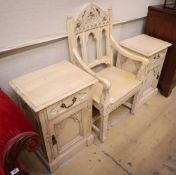 A cream painted Gothic style elbow chair, W.58cm and a matching pair of bedside cabinets, W.50cm