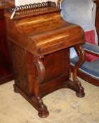 A Victorian burr walnut piano front davenport with rising stationary compartment, W.56cm, D.56cm,