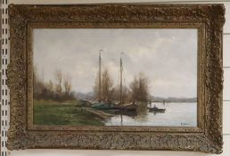 Modern Dutch School, Canal scene, indistinctly signed, oil on canvas, 29 x 49cm