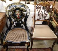 An Edwardian inlaid mahogany open armchair and a Victorian papier mache side chair (2)