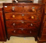 A small Victorian mahogany chest of five drawers, Width 74cm