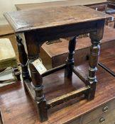 A 17th century oak joint stool, width 48cm, depth 27cm, height 57cm