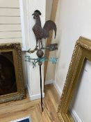A French bronze and copper 'cockerel' weather vane, height 148cm