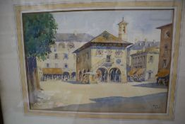 Sir Edward Guy Dawber (1861-1938), watercolour, View of Orta, initialled and dated '23, 25 x 36cm