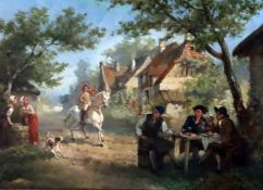 Jean Jacques Zuidema Broos (Dutch 1833-1877)oil on panelVillage scene with equestrian and other