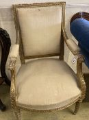 A late 19th century French giltwood fauteuil, width 53cm